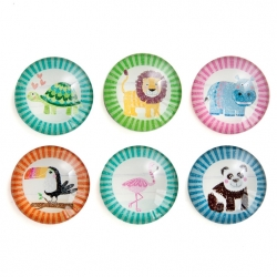 Weighted & Domed magnets of Zoo Animals, 24 pc assortment
